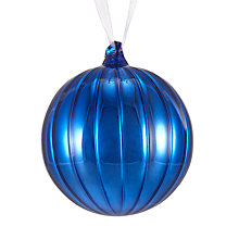 Buy John Lewis Winter Palace Ribbed Bauble, Royal Blue Online at johnlewis.com