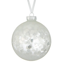 Buy John Lewis Mitsuko Misted Glitter Bauble, Clear Online at johnlewis.com