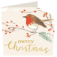 Buy Caroline Gardner Merry Christmas Robin Charity Christmas Cards, Pack of 5 Online at johnlewis.com