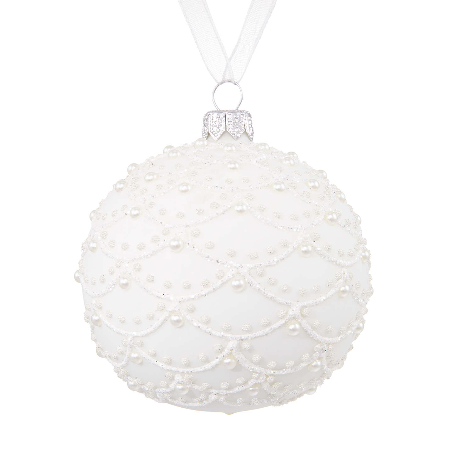 BuyJohn Lewis Winter Palace Pearl Scallop Bauble, White Online at johnlewis.com
