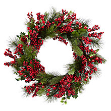Buy John Lewis Red Berry And Pine Wreath, Dia.61, Green Online at johnlewis.com