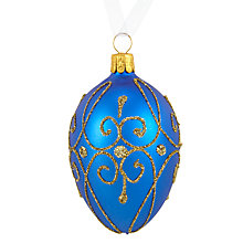 Buy John Lewis Winter Palace Egg Bauble, Royal Blue Online at johnlewis.com