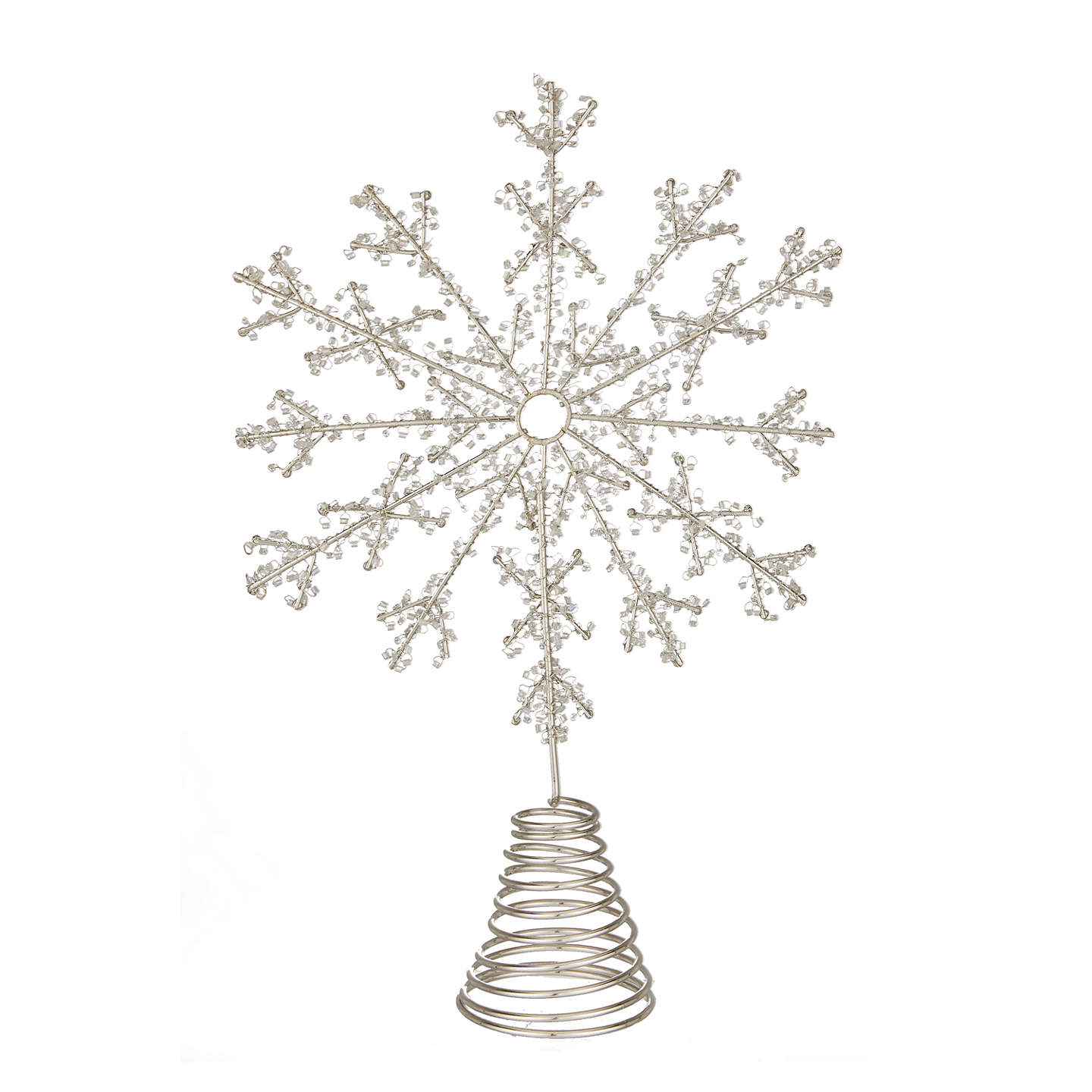Buyjohn Lewis Winter Palace Beaded Snowflake Tree Topper, Silver Online