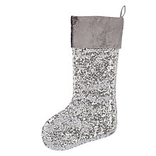 Buy John Lewis Winter Palace Sequin Stocking, Silver Online at johnlewis.com
