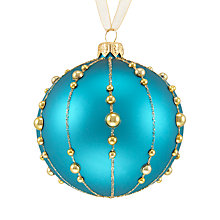 Buy John Lewis Tales of the Maharaja Beaded Stripe Bauble, Teal Online at johnlewis.com