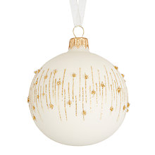 Buy John Lewis Highland Myths Flittered Band Bauble, White Online at johnlewis.com