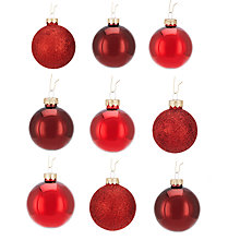 Buy John Lewis Mixed Glass Baubles, Box of 42, Red Online at johnlewis.com