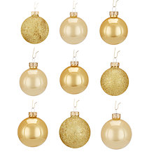 Buy John Lewis Mixed Glass Baubles, Box of 42, Gold Online at johnlewis.com