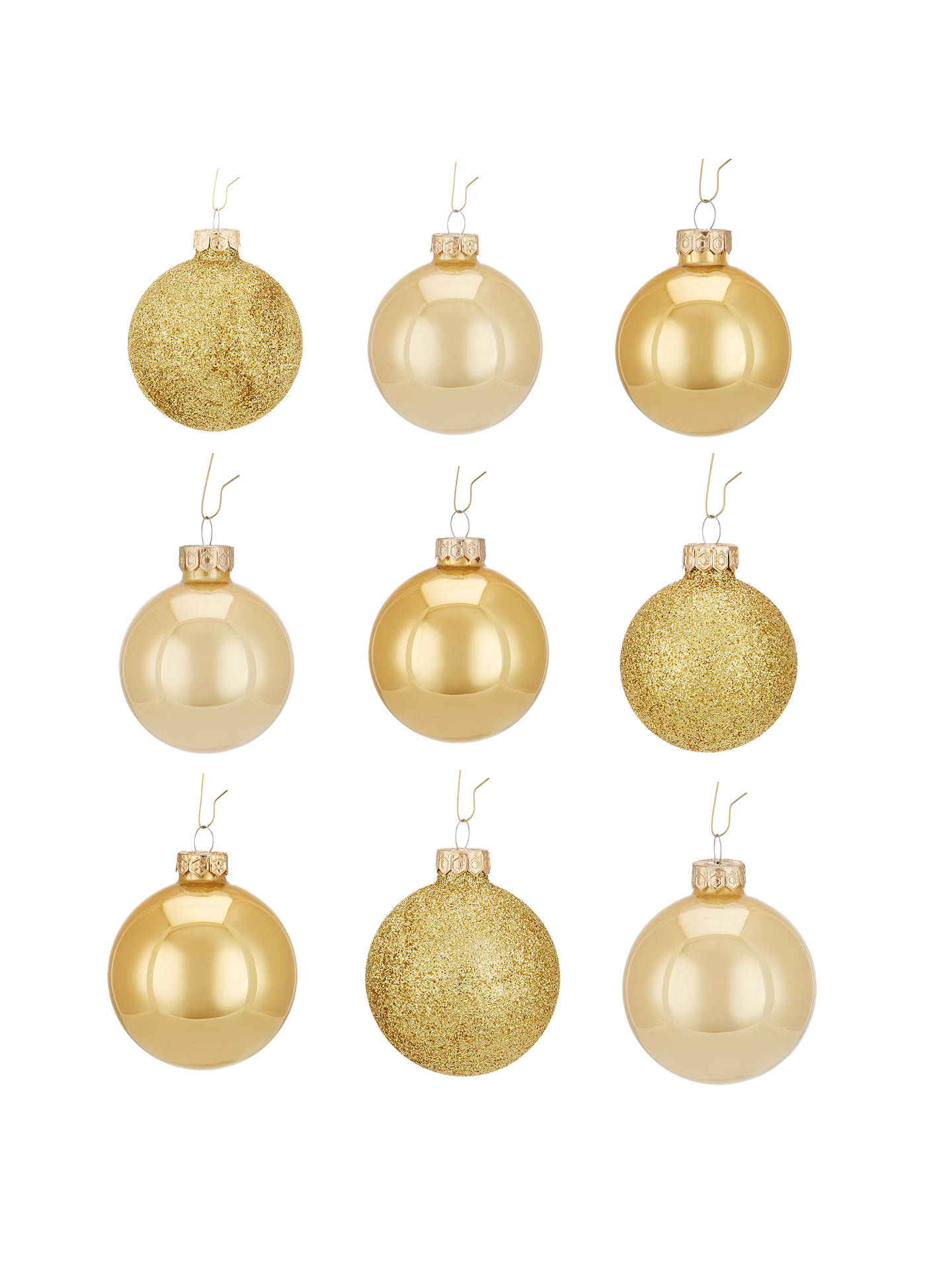 john lewis mixed glass baubles box of 42 gold at john. Black Bedroom Furniture Sets. Home Design Ideas