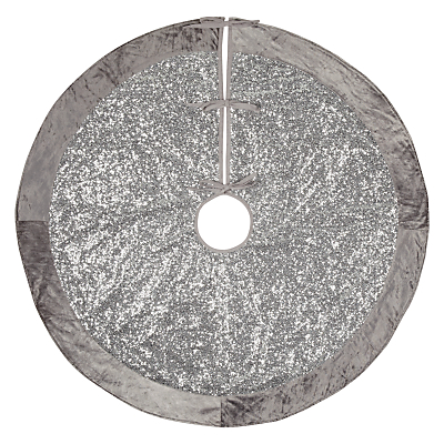 John Lewis Winter Palace Sequin Tree Skirt, Silver, 125cm
