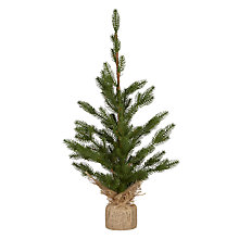 Buy John Lewis Tabletop Fir Tree in Hessian Sack Online at johnlewis.com
