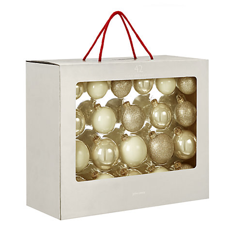 Buy John Lewis Mixed Glass Baubles, Box of 42, Champagne Online at johnlewis.com
