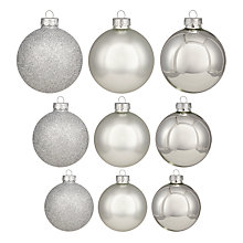Buy John Lewis Mixed Glass Baubles, Box of 42, Silver Online at johnlewis.com