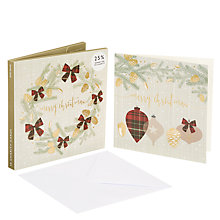 Buy John Lewis Highland Myths Tartan Bows Charity Christmas Card, Pack of 10 Online at johnlewis.com