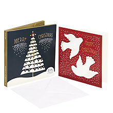 Buy John Lewis Folklore Tree and Dove Charity Christmas Card, Pack of 10 Online at johnlewis.com