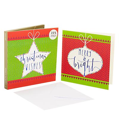 John Lewis Lima Llama Slogan Baubles Charity Christmas Card, Pack of 10