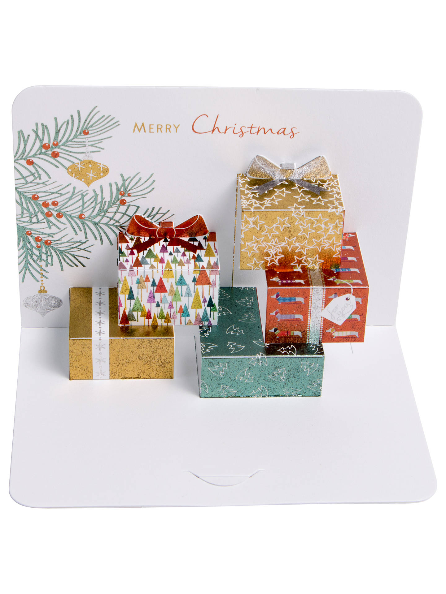 buyart file luxury hand folded metallic parcels christmas cards pack of 5 online at johnlewis - Folded Christmas Cards