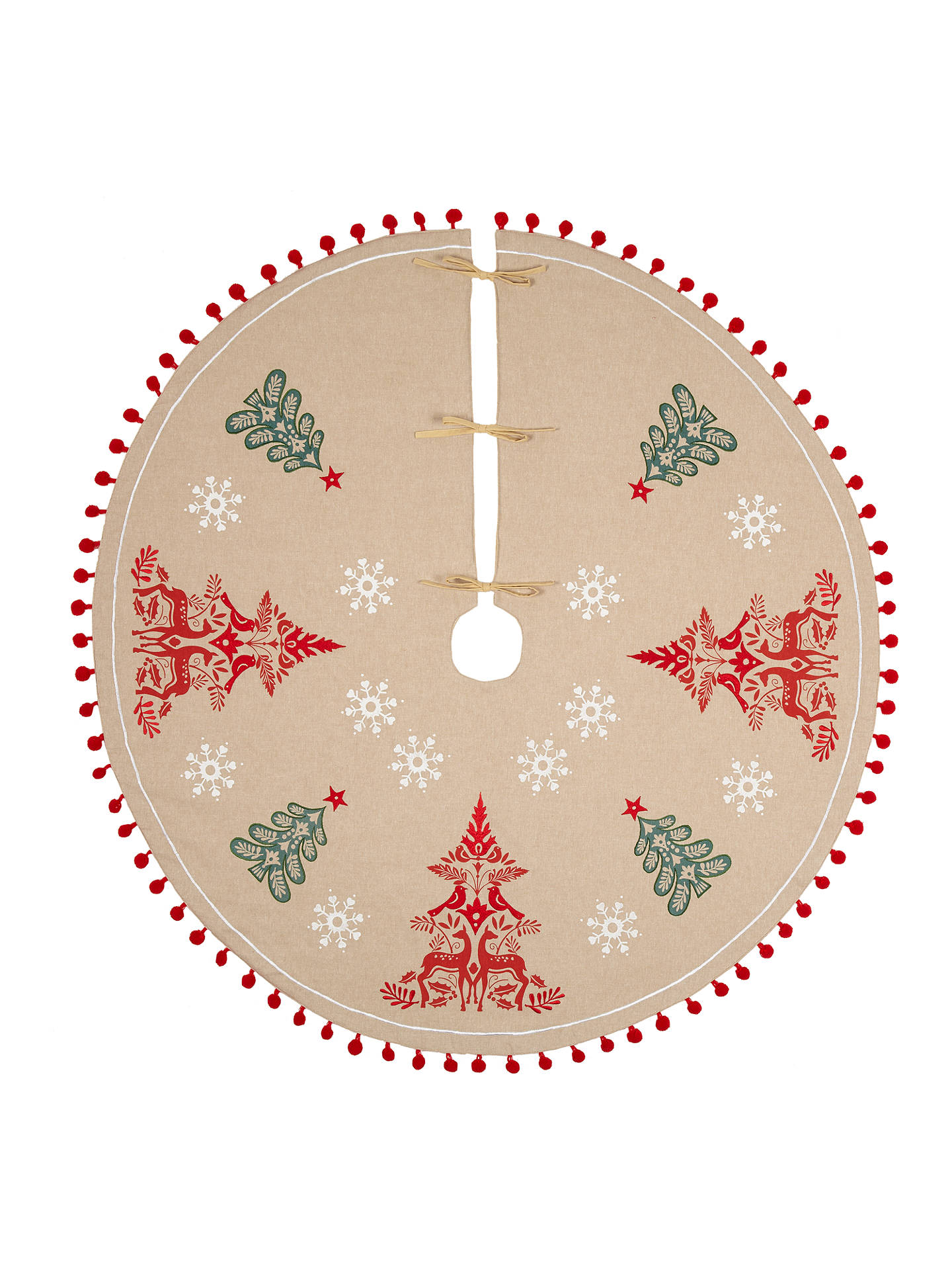 John Lewis Christmas Tree Skirt.Vivid Folklore Stag And Robin Embroidered Pom Pom Tree Skirt