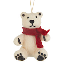 Buy John Lewis Folklore Baby Bear with Scarf Tree Decoration Online at johnlewis.com