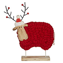Buy John Lewis Folklore Reindeer Woolly Sheep Decoration, Red Online at johnlewis.com