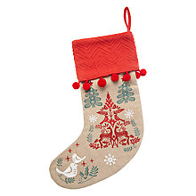 Buy Vivid Folklore Stag and Robin Embroidered Stocking, Multi Online at johnlewis.com