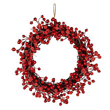 Buy John Lewis Folklore Frosted Berry Wreath, Dia.42cm, Red Online at johnlewis.com
