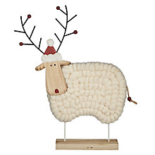 Buy John Lewis Folklore Reindeer Woolly Sheep Decoration, White Online at johnlewis.com