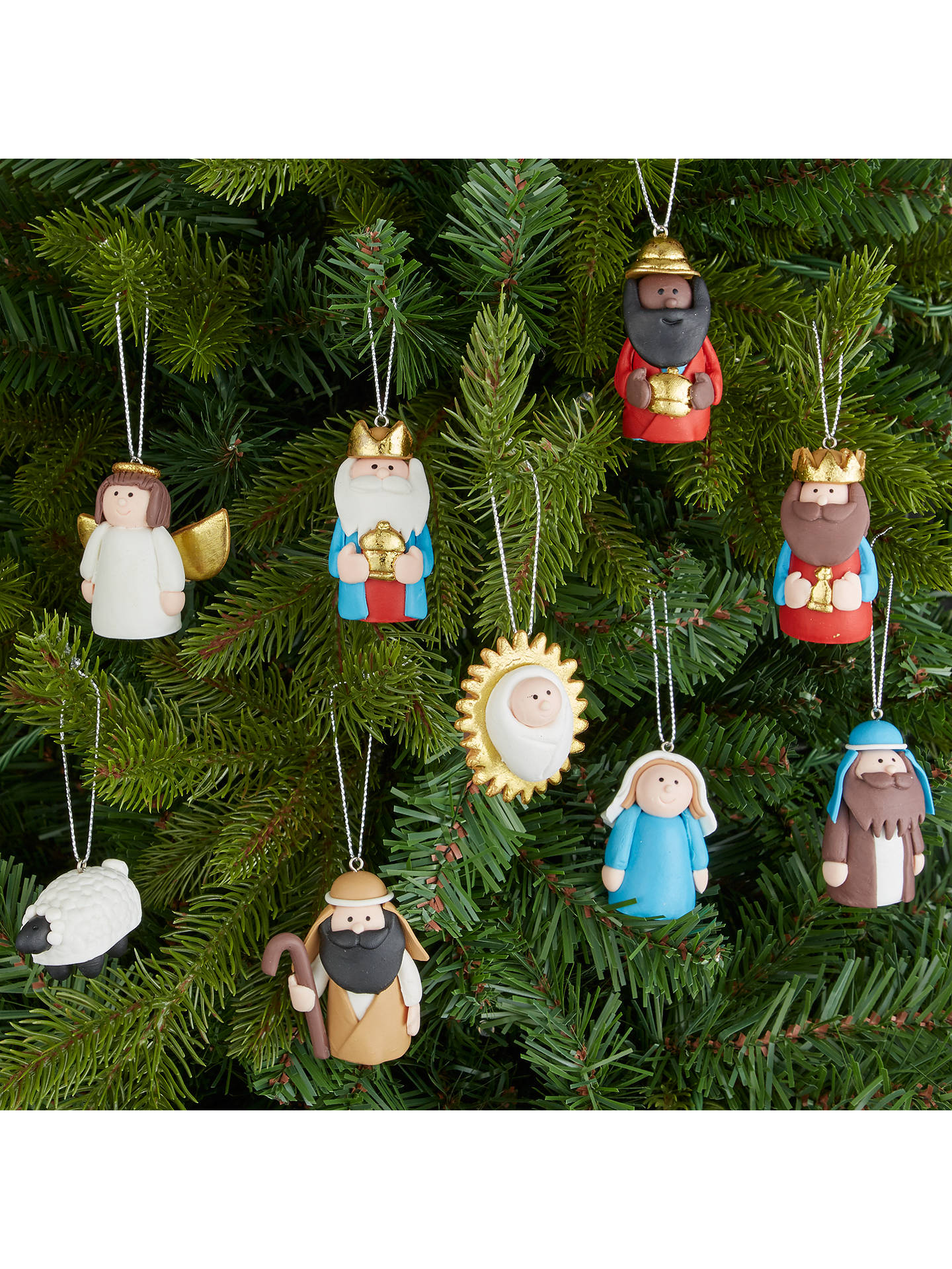 John Lewis Christmas Tree Themes.John Lewis Claydough Nativity Tree Decoration Set At John