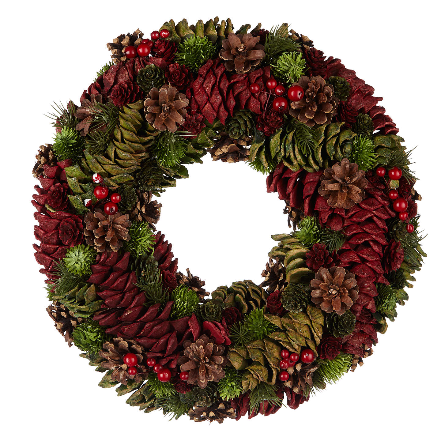 John lewis cone wreath dia38cm red green at john lewis buyjohn lewis cone wreath dia38cm red green online at johnlewis izmirmasajfo