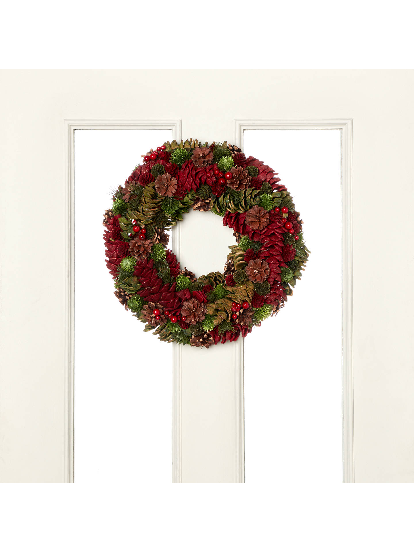 John lewis cone wreath dia38cm red green at john lewis partners buyjohn lewis cone wreath dia38cm red green online at johnlewis izmirmasajfo