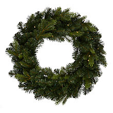 Buy John Lewis Spruce Wreath With Lights, Dia.64cm, Green Online at johnlewis.com