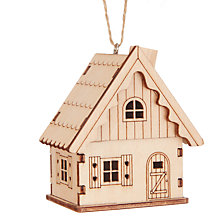 Buy John Lewis Folklore Wooden Cabin Tree Decoration Online at johnlewis.com