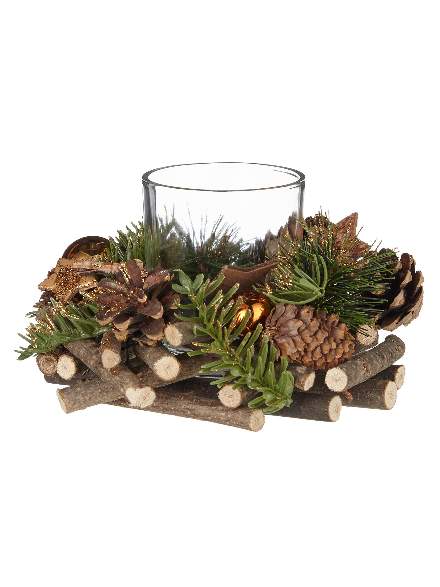 BuyJohn Lewis Highland Myths Pine Cone and Star Candle Holder, Copper Online at johnlewis.com