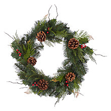 Buy John Lewis Holly Cone Wreath, Dia.50cm, Green/Red Online at johnlewis.com