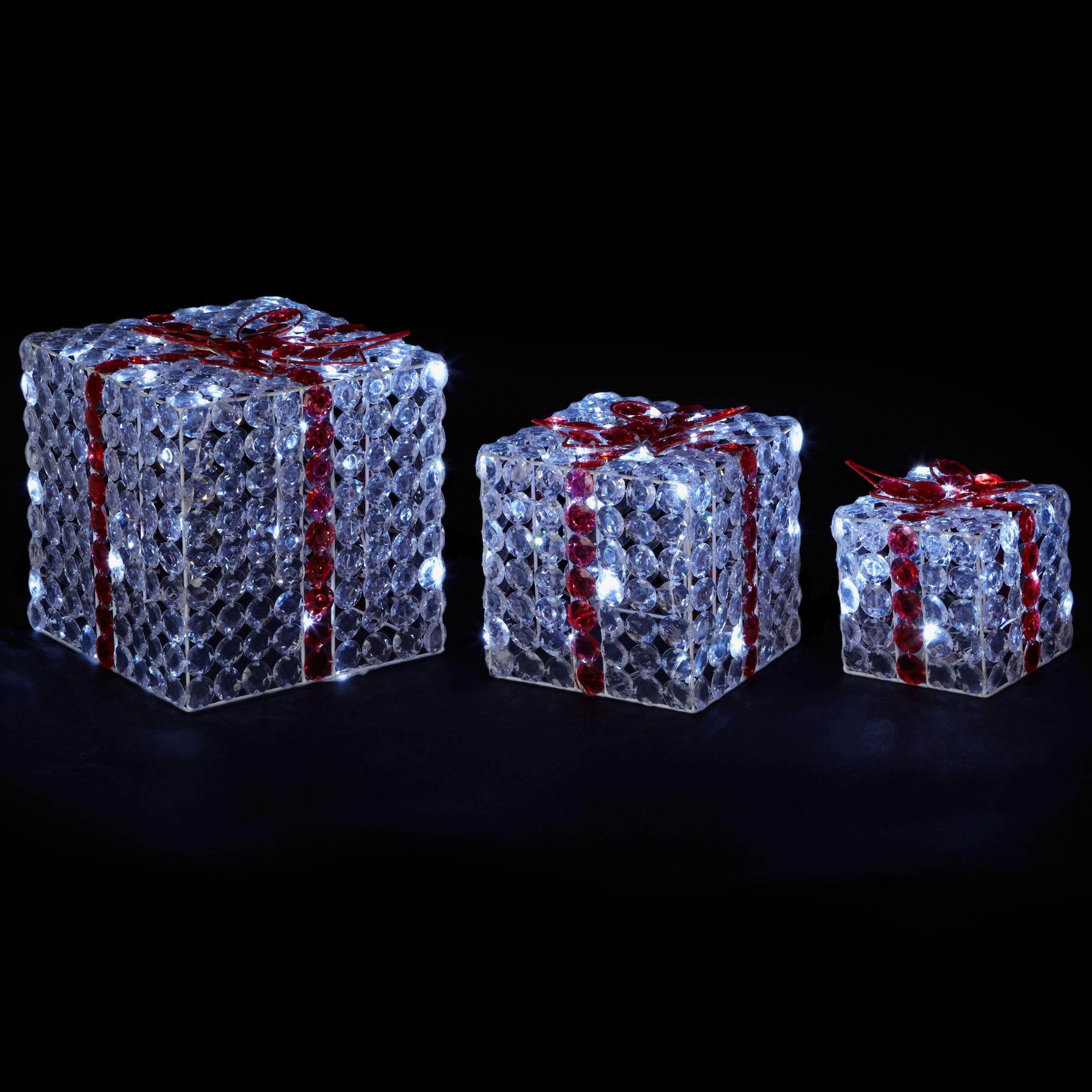John Lewis Led Acrylic Crystal Parcels Set Of 3 At John Lewis Partners