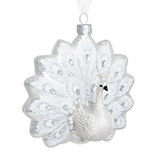 Buy John Lewis Winter Palace Peacock Bauble, White Online at johnlewis.com