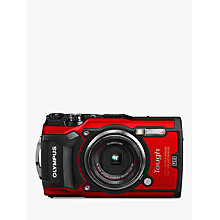 "Buy Olympus Tough TG-5 GPS Waterproof, Freezeproof, Shockproof, Dustproof Compact Digital Camera, 12MP, 4K UHD, 4x Optical Zoom, Wi-Fi, RAW Shooting, 3"" LCD Screen, Red Online at johnlewis.com"