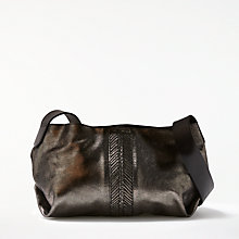 Buy AND/OR Shadi Leather Slouch Cross Body Bag, Gunmetal Online at johnlewis.com