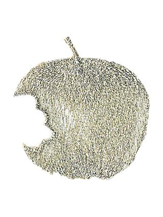 La Stephanoise Apple Iron On Patch, Silver