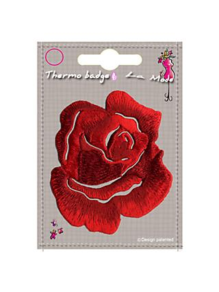 La Stephanoise Rose Iron On Patch, Red