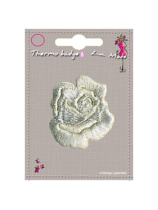 La Stephanoise Small Rose Iron On Patch, Silver
