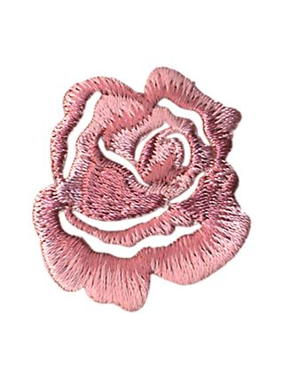 La Stephanoise Small Rose Iron On Patch, Pink