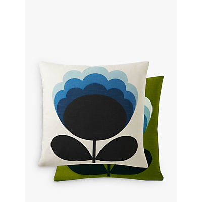 Orla Kiely Blossom Flower Cushion, Olive / Duck Egg