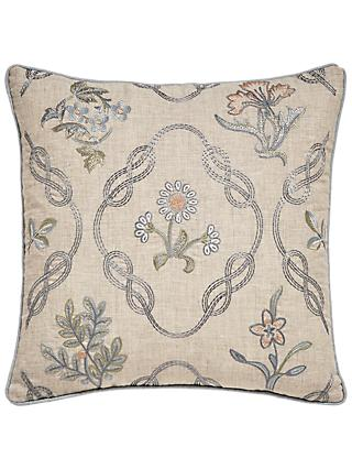 Morris & Co. Strawberry Thief Embroidered Cotton Cushion, Slate