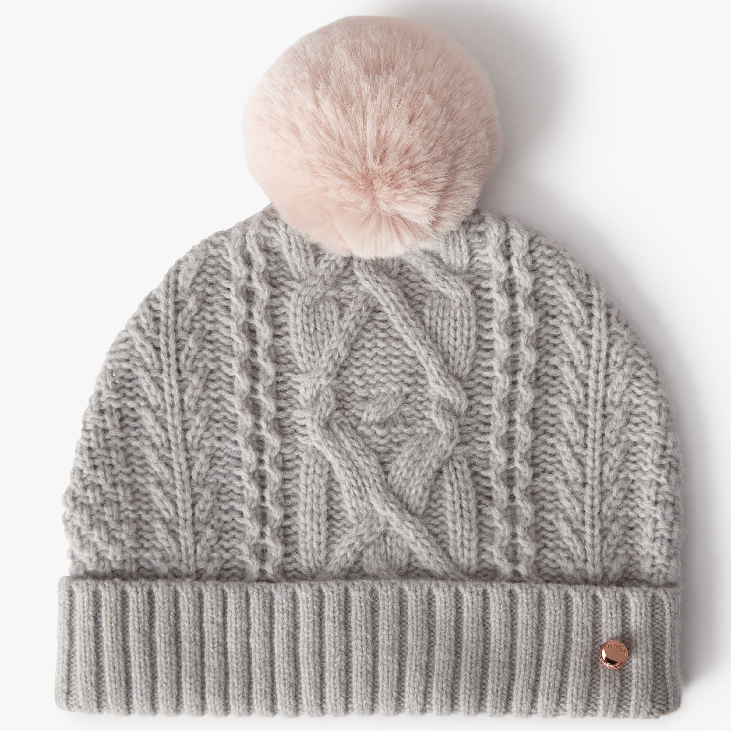 Ted Baker Wool Blend Cable Knit Faux Fur Pom Pom Beanie Hat 3099ca4bc90f