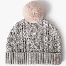 Buy Ted Baker Wool Blend Cable Knit Faux Fur Pom Pom Beanie Hat, Grey Online at johnlewis.com