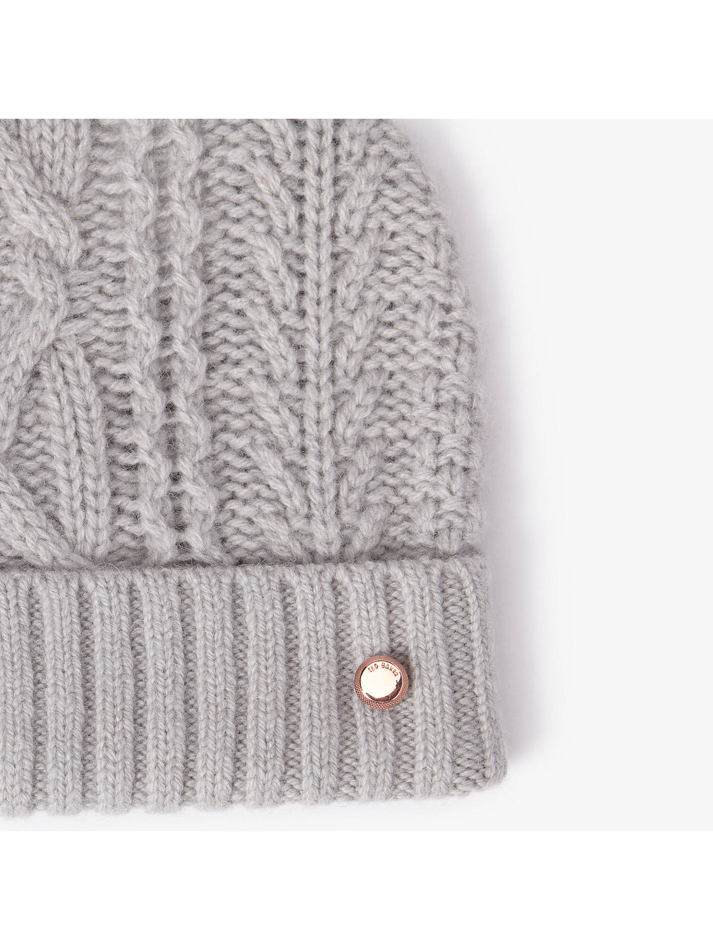 ... BuyTed Baker Wool Blend Cable Knit Faux Fur Pom Pom Beanie Hat 945901730155