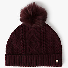 Buy Ted Baker Kyliee Faux Fur Pom Hat, Maroon Online at johnlewis.com