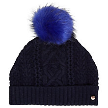Buy Ted Baker Kyliee Faux Fur Pom Hat, Navy Online at johnlewis.com