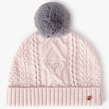 Buy Ted Baker Kyliee Faux Fur Pom Hat, Light Pink Online at johnlewis.com